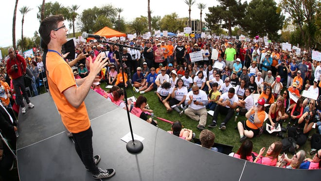 Jordan Harb with March For Our Lives talks to the protesters at the Arizona State Capitol on March 24, 2018, in Phoenix.