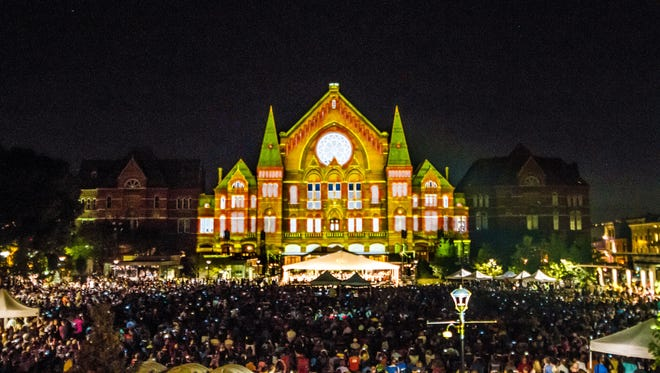 Music Hall, during the first LumenoCity event at Washington Park.