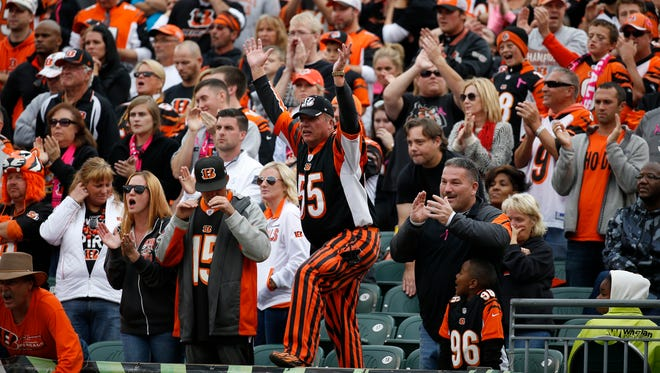 Bengals fans try to get their team pumped up on Oct. 12 against the Panthers.