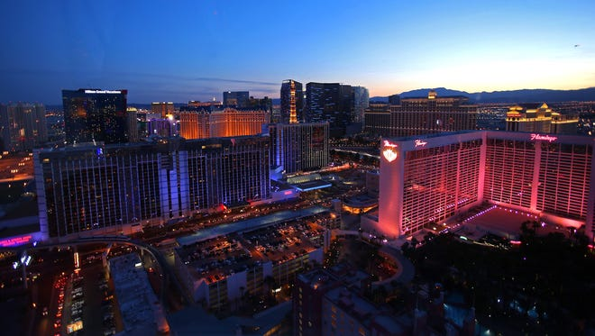 The view of the Las Vegas strip from a sunset ride on the HIgh Roller .