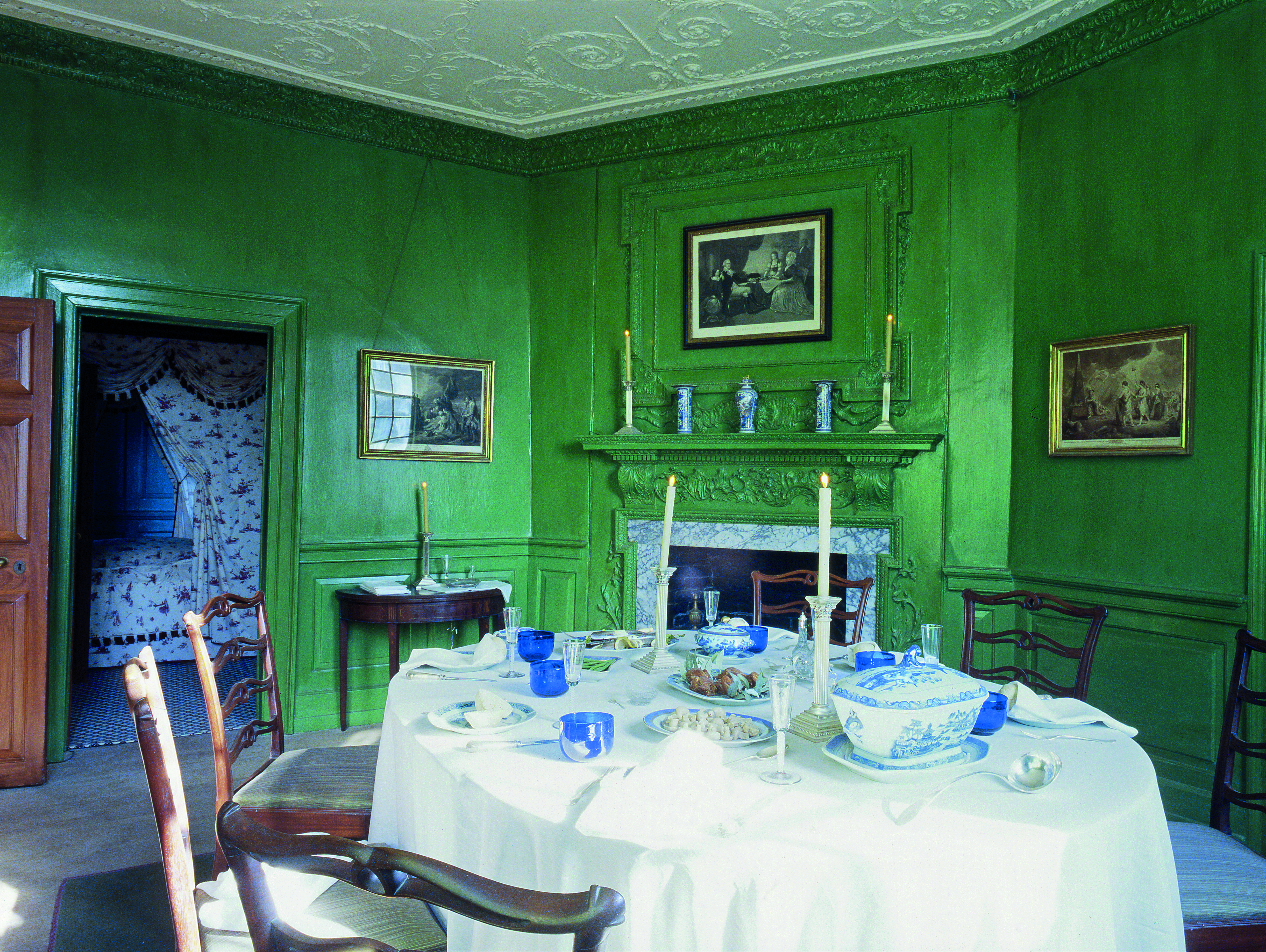 """George Washington, Mount Vernon: The Washingtons used the Small Dining Room in cold weather and when the room could accommodate the number of guests at hand. The man of the house liked the color green--he once said he found it """"grateful to the eye."""""""