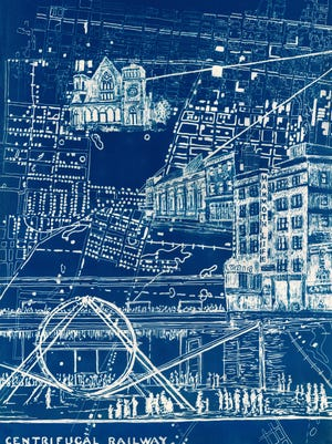 """A detail view of Susanna Crum's """"Breaking the Loop,"""" a cyanotype triptych print that references Fountain Ferry Park, is part of the exhibit """"Held from Beneath: An Exploration of Cultural Sustainability"""" at the Carnegie Center for Art and History in New Albany, Ind."""