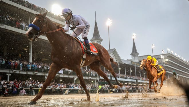 Justify, with Mike Smith aboard, wins the 144th running of the Kentucky Derby. May 5, 2018