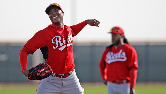 Closer Aroldis Chapman pretended to make a throw during infield practice Saturday morning. It was the third day of workouts, so it still was fairly light work.