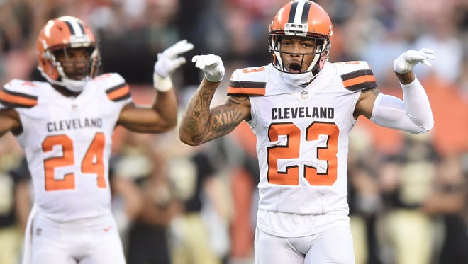 Aug 10, 2017; Cleveland, OH, USA; Cleveland Browns cornerback Joe Haden (23) and strong safety Ibraheim Campbell (24) at FirstEnergy Stadium.