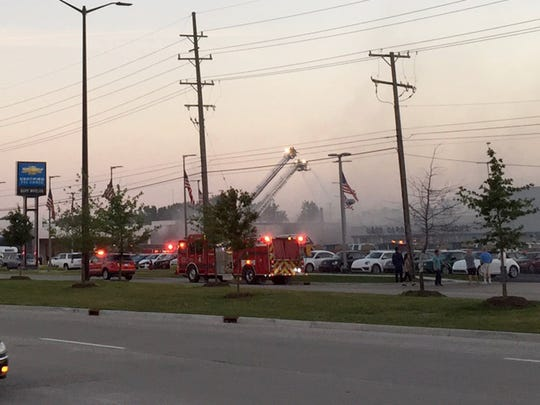 A fire at Buff Whelan Chevrolet in Sterling Heights on Tuesday, July 18, 2017.