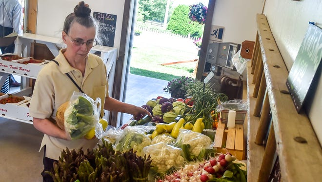 Sally Hose buys some fresh vegetables at Hess Orchards on Thursday, June 9, 2016.