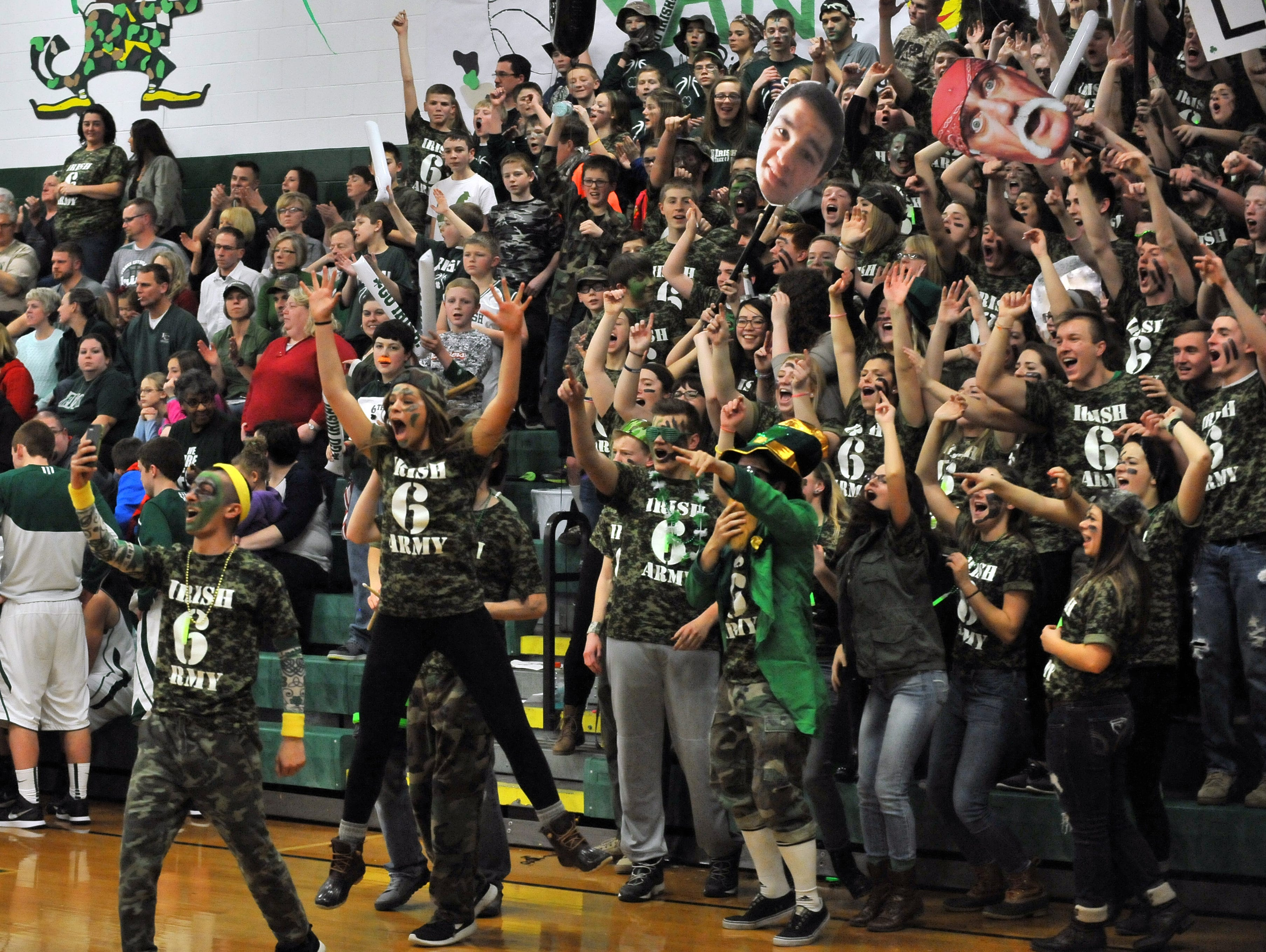 The Fisher Catholic student section won the first Battle of the Fans competition.