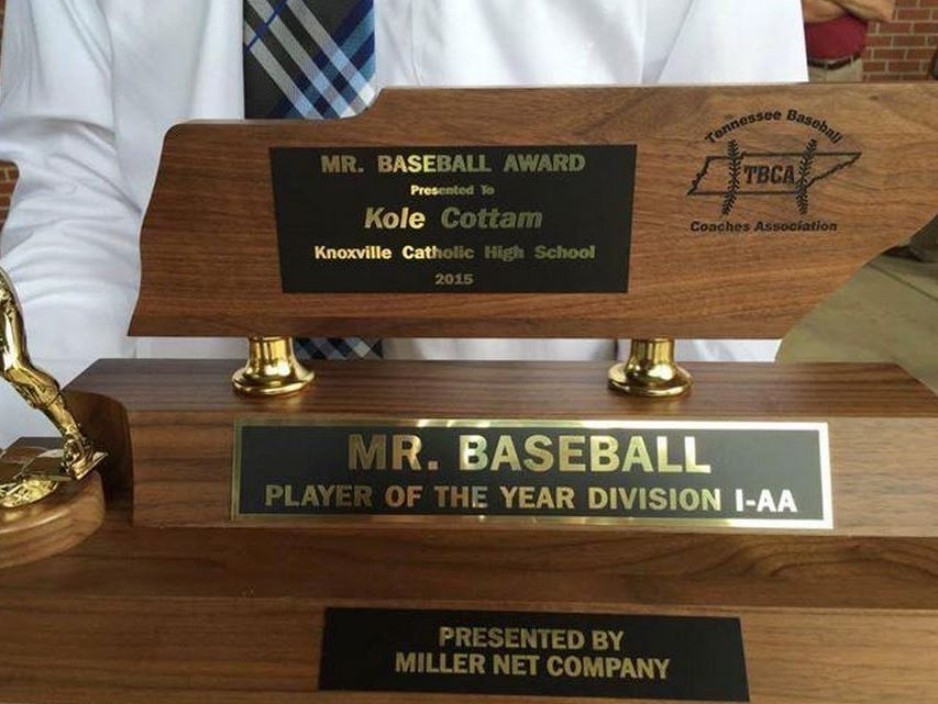 Kole Cottam was named the Class AA Mr. Baseball winner on Tuesday.