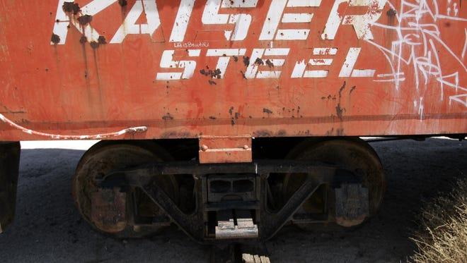 An old rail car that served the Kaiser Steel Eagle Mountain iron ore mine.