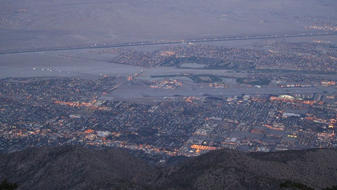 The city lights of the Coachella Valley are seen from the Palm Springs Aerial Tramway's Mountain Station.