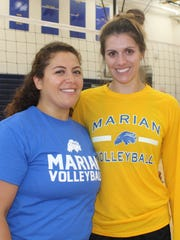Alex Cocklin (right), Marian's 2009 Miss Volleyball