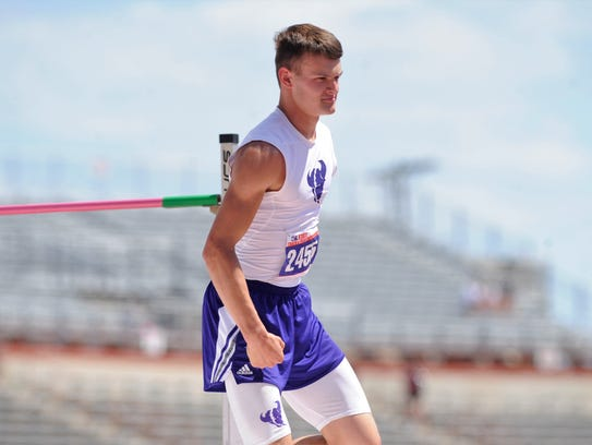 Cross Plains' Creed Goode cracks a smile and pumps his fist after clearing 6 feet, 3 inches to win the Class 1A boys high jump gold at the UIL State Track and Field Championships at the University of Texas' Mike A. Myers Stadium on Friday.