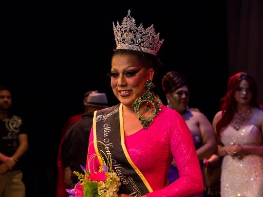 Lady Shug smiles after winning the title of Miss New Mexico Pride 2016 on Nov. 20, 2015. The pageant was held at the African American Performing Arts Center and Exhibition Hall in Albuquerque.