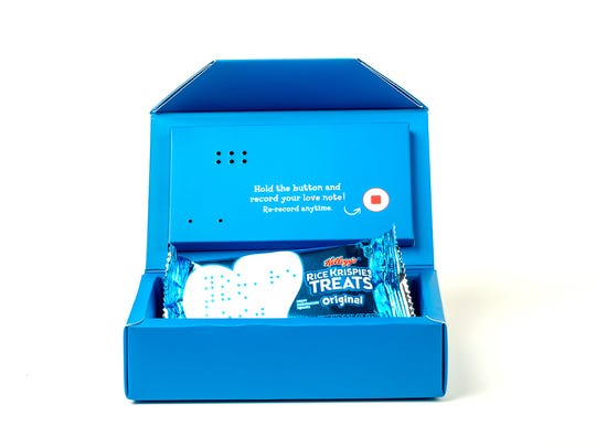 The Rice Krispies Treats' recordable audio box plays a 10-second pre-recorded message that can be recorded over 1,000 times.