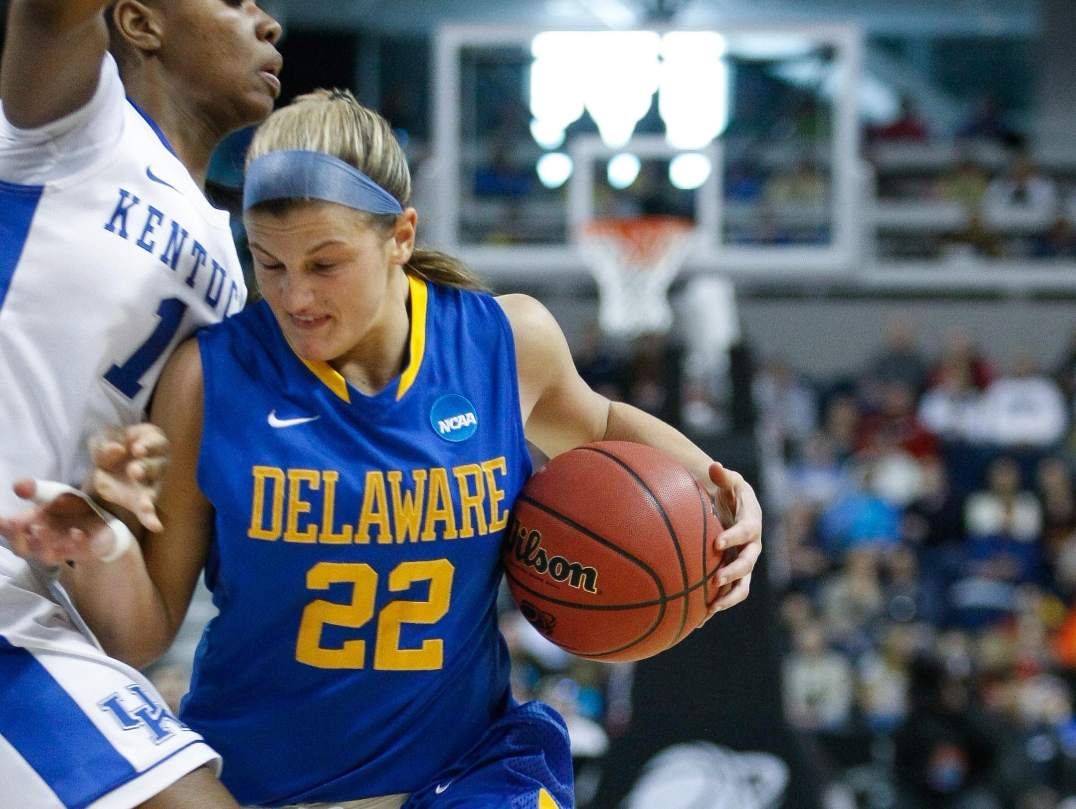 Delaware guard Lauren Carra tries to get around the Kentucky defense. Delaware takes on Kentucky at Webster Bank Arena in the Regional semi-finals of the 2013 NCAA Division I Women's Basketball Championship in Bridgeport, Ct. Saturday March 30, 2013. SUCHAT PEDERSON/THE NEWS JOURNAL