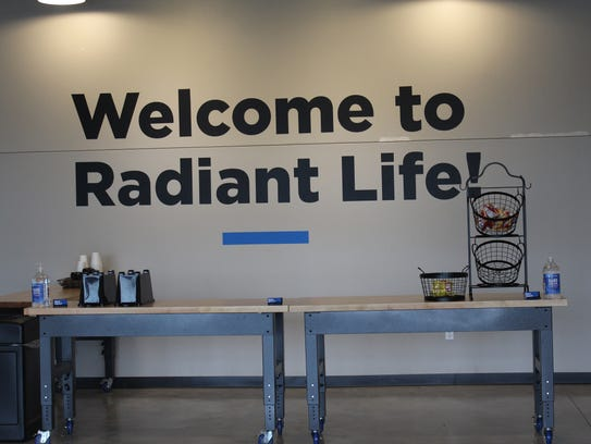 A welcome sign just inside the front doors of Radiant