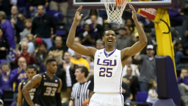 LSU forward Jordan Mickey (25) and the Tigers will face West Virginia on Dec. 4 in the SEC/Big 12 Challenge.