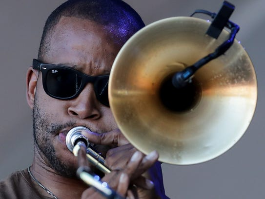 Trombone Shorty performs at Bourbon and Beyond.