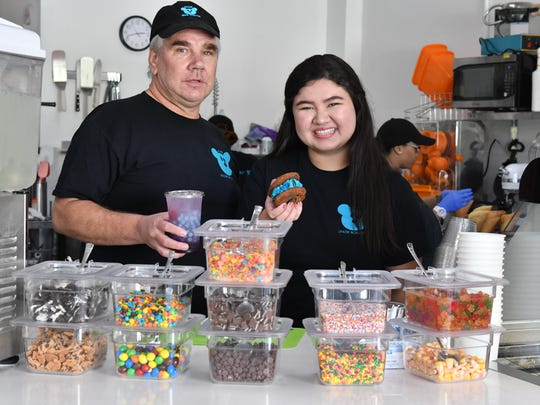 Chris Masterenko and his daughter Arielle Masterenko co-own Snow Monster, a new sweets shop with trendy desserts in Tumon.