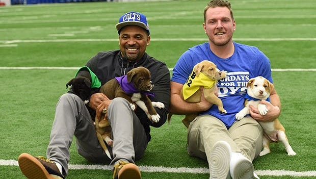 Pat McAfee and Mike Epps hosted the Puppy Combine on Feb. 9, 2017
