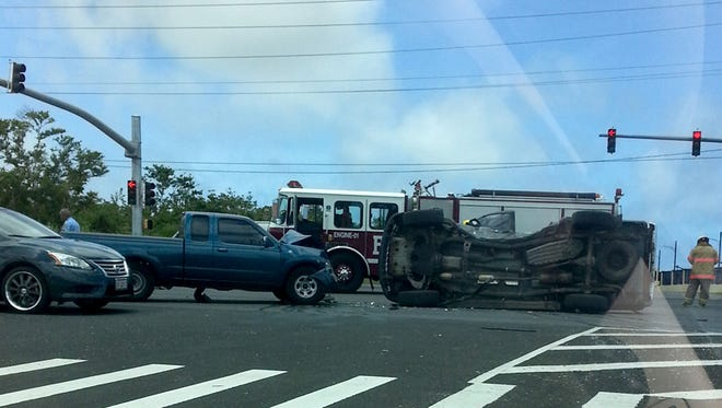 T-bone collision: Two vehicles collided on Route 16 in front of the Barrigada post office. Reader Elizabeth Flores, who took this photo, said the crash occurred just before 1 p.m. on June 22.