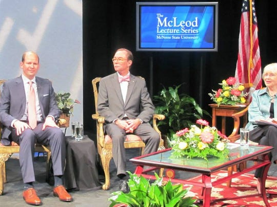 From left, Michael Reese, Barksdale Forward president Murray Viser and LPB president and CEO Beth Courtney prepare for the taping of the McLeod Lecture Series at McNeese State University. The discussion examined the reaction of grassroots political groups in Louisiana regarding Base Realignment and Closure (BRAC).