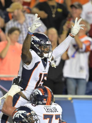 Denver Broncos wide receiver Juwann Winfree celebrates after catching a touchdown pass during the second half of the 2019 Pro Football Hall of Fame preseason game against the Atlanta Falcons in Canton. Hall officials remain hopeful 2020's game will be played as scheduled.