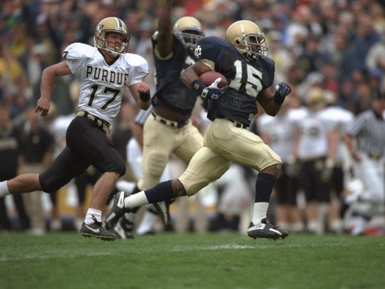 Allen Rossum (15) was one of the most electrifying return men in Irish history.