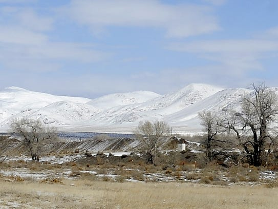 Snow covers the peaks north of Fernley.