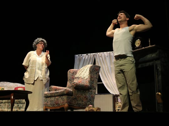 """Amy Nielsen plays Miss Todd and Will Berman plays Bob in St. George Opera's production of """"The Old Maid and the Thief"""" by Gian Carlo Menotti."""