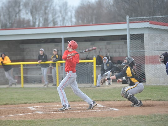 Josh Dentinger watches a pop-up against Northmor.