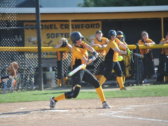 Caitlin Koschnick tied up the game in the third when she stole home after belting a triple.