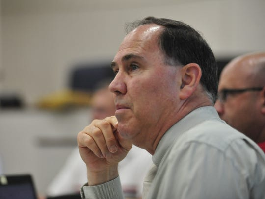 Shelby Mayor Steve Schag listens to public input during a meeting in the summer of 2018.