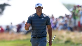 Brooks Koepka reacts on the fifth green during the final round of the U.S. Open golf tournament at Shinnecock Hills on June 17.