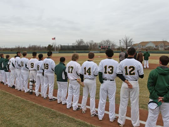 The new Piscataway Tech baseball field is dedicated during a brief ceremony before the game against Perth Amboy Tech.