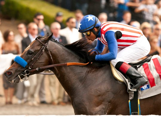 In this image provided by Benoit Photo, Fed Biz, with Martin Garcia aboard, wins the Grade II, $200,000 San Diego Handicap horse race on Saturday, July 26, 2014, at Del Mar Thoroughbred Club in Del Mar, Calif. (AP Photo/Benoit Photo) © BENOIT PHOTO