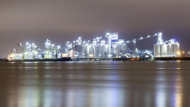 A refinery on the Mississippi River at Baton Rouge.