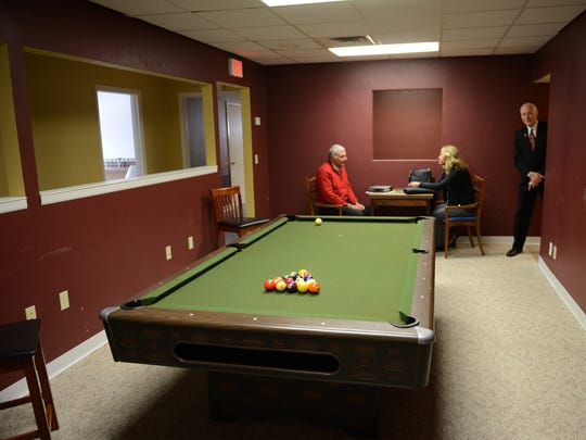 Officials offer a look inside the Micah Center, the new daytime homeless shelter at 700 East Walnut Street in downtown Green Bay. Pictured is the rec room at the facility.