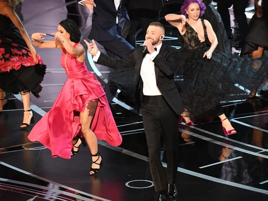 Justin Timberlake opens the 89th Academy Awards at Dolby Theatre.