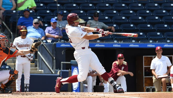 FSU junior catcher Cal Raleigh hits a double in Tuesday's ACC matchup of FSU vs Virginia in Durham, NC.