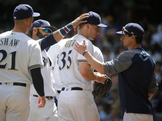 Brewers pitcher Brent Suter has been valuable as a starter and reliever this season for manager Craig Counsell.