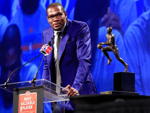 2013-14 NBA MVP: Thunder forward Kevin Durant was emotional after winning the award nearly unanimously. He averaged 32.0 points a game this season.