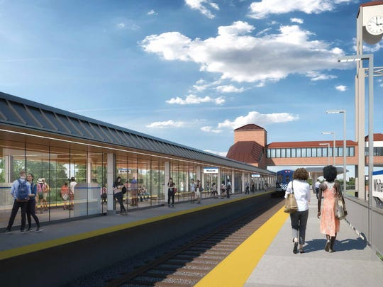 Rendering of platform at renovated White Plains railroad station.
