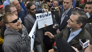 Trump supporters confront Ted Cruz in Marion, Ind., on  May 2, 2016.
