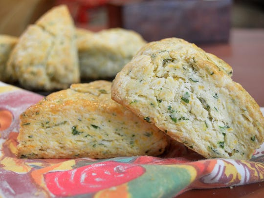 These cheddar-herb scones can be made and frozen, then baked just before dinner.