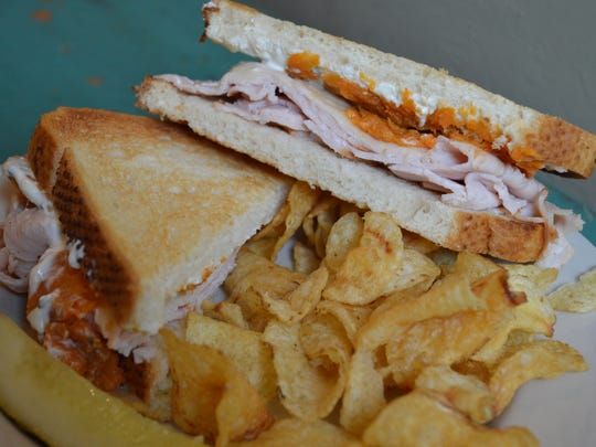 The Doors warm sandwich has turkey, garlic herb cream cheese, sweet potato and provolone on sourdough for $8.50.