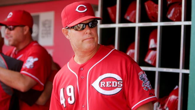 Reds bench coach Jay Bell during the team's final game of the season at Great American Ball Park.
