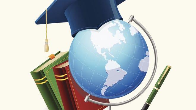 Graduation cap, stack of books, globe, and pen.