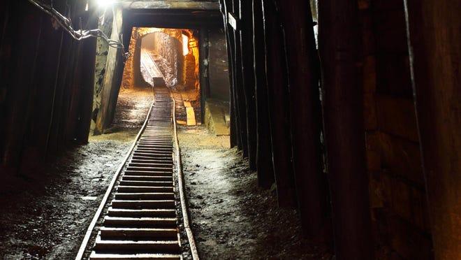 Mine shaft with railway.